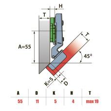 Петля Угловая -45° с лапкой H=4 LinkenSystem