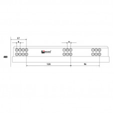 Напр. скрытые LinkenSystem 16-19мм L=400 НЕПОЛНОГО выдв. с доводч+креп.