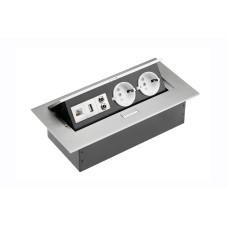 Удлинитель GTV 2 розетки SCHUKO USB аудио интернет-выход Алюминий А