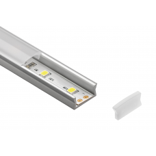 Комплект LED-профиля MINI накладного 2м крышки молочной 2м и 2 заглушки