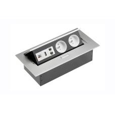 Удлинитель GTV 2 розетки FRENCH USB аудио интернет-выход Алюминий А