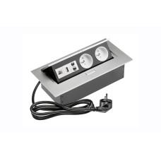 Удлинитель GTV 2 розетки FRENCH USB аудио интернет-выход провод 1,5м с вилкой Алюминий А