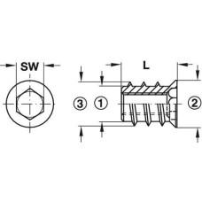 Муфта для ввинчивания M8 12.5x24 SW8 оцинкованная сталь