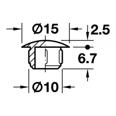 Заглушка d10 x 15 мм RAL7035 светло-серая