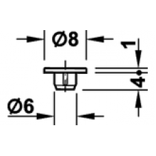 Заглушка D 8 мм для отверстия D 6 мм пластик белый RAL 9010