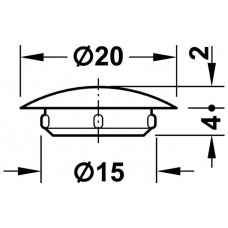Заглушка D15 х 20 мм RAL9010 белая пластик
