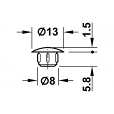 Заглушка D8 х 13 мм RAL9010 белая
