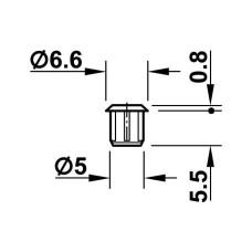 Заглушка 6,6 для отверстия 5,0 RAL9006 белый алюминий