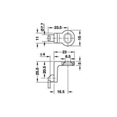 Фиксатор задней стенки, цамак, никелированный 25.5 х 23 мм