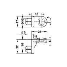 Стяжка угловая шуруп + запрессовка d10 мм (белый)