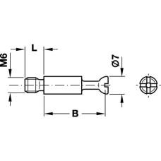 Болт стяжки MINIFIX S100 стальной D7 мм 24 мм М6 7,5 мм