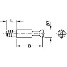 Болт стяжки MINIFIX S100 стальной D 7 мм глубина свердления 34 мм резьба 11 мм