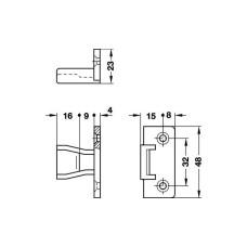 Стяжка KEKU, панельная часть AS с фиксатором, крепление шурупом