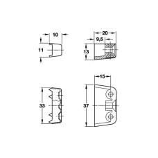 Стяжка корпусная Т сталь оцинкованная верхняя часть пластмассовая, белый