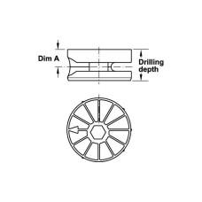 Корпус стяжки MAXIFIX под шестигранник цинковый сплав без покрытия D35 мм глубина сверления 17 мм толщина детали 24 мм