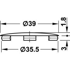 Заглушка для отверстия 35 мм пластиковая белая D39 мм
