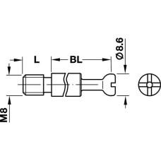 Болт стяжки MAXIFIX 66 мм D8.6 мм М8 11 мм глубина сверления 55 мм