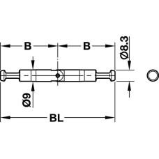 Болт стяжки MAXIFIX E для двойного крепления шарнирный 88 мм D9 мм