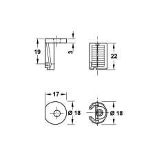 Корпус стяжки Tab18 V 32 пластмасса цамак без покрытия