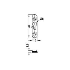 Соединитель каркаса кровати 10 х 46 х 3,6 мм