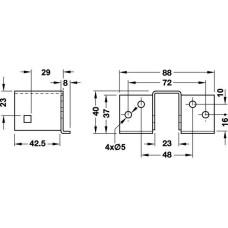 Соединитель для каркаса кровати поперечный 23 мм