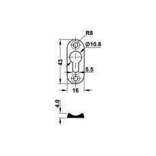 Соединитель каркаса кровати 16х43х4,0 мм