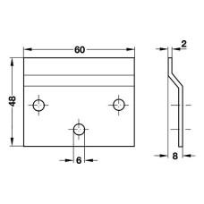 Планка навесная для подвеса, 60 мм сталь оцинкованная