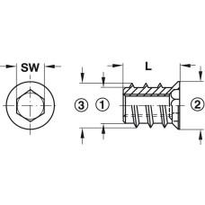 Муфта для ввинчивания M6 10 x 24 мм SW8 оцинкованная сталь