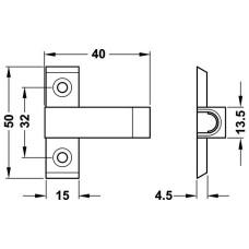 Адаптер магнитной защелки Push бежевый для привинчивания без приспособления для позиционирования