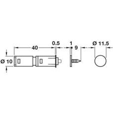 Комплект защелка магнитная PUSH 40 мм D10 мм пластик черно-бежевая и ответная планка для забивания