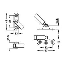 Раскладной стопорный кронштейн Fall-ExW 250 мм на раскрытие стально никелированый