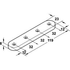 Крепление к фасаду из стекла нержавеющая сталь 23 х 119 мм для Free flap, Free swing, Free up