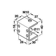 Дужка-держатель опоры С-образная, сталь оцинкованная