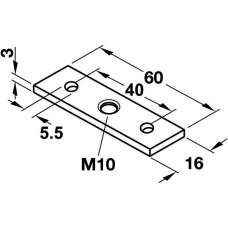 Планка монтажная М10 16 х 60 мм сталь, оцинкованная