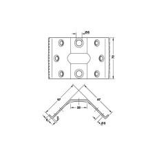 Царга угловая для стола 67х67х70 мм оцинкованная