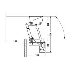 Комплект откидной фурнитуры для стола Tavoflex 698 мм сталь цвет алюминий