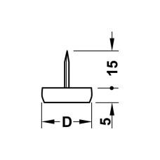 Мебельный подпятник H 5 мм D15 мм