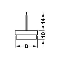 Опорный подпятник D20 мм нейлон резина серая
