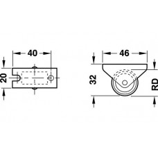 Мебельный ролик 30 x 16.5 мм 15 кг, Н 18 мм не поворотный ролик пластик