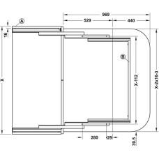 Комплект фурнитуры для выдвижного стола 900 x 550 мм цвет серебряный