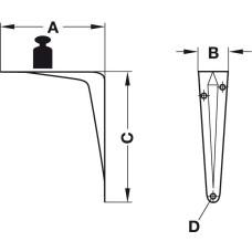 Консоль 90 х 33 х 115 мм нагрузка 30 кг на пару, белая