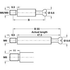 Болт стяжки MAXIFIX 64.5 мм D8.6 мм М6 9.5 мм глубина сверления 55 мм