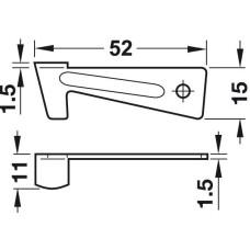 Крючок запорный 50 мм для раздвижных столов, сталь, оцинкованная
