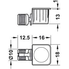 Стяжка RTA для установки полок от 18 мм без инструментов цамак никелированная