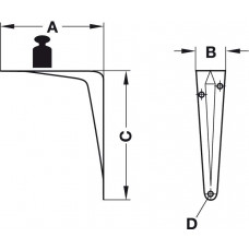Консоль 65 х 31 х 90 мм нагрузка 30 кг на пару белая