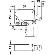 Комплект автоматическая пружинная защелка Mini-Latch нержавеющая сталь белая