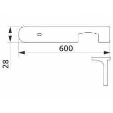 Стыковка столешницы угловая U-закругленная GIFF 28х600 алюминий