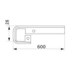 Стыковка столешницы прямая U-закругленная GIFF 28х600 алюминий