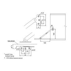 Барный фиксатор (ножницы) углового открывания вниз UA (Ф 282.02)