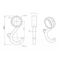 Крючок трубы-рейлинга d=16 несъемный Ozkardesler хром